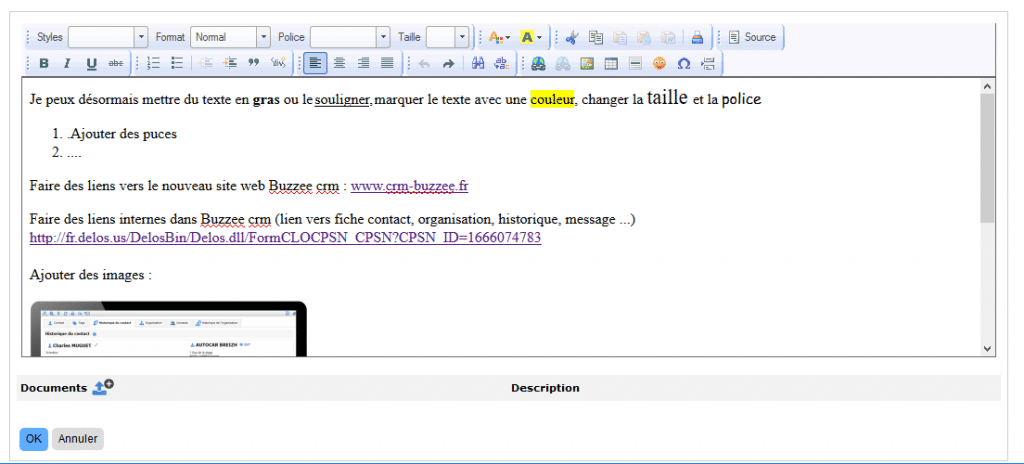 Article en mode modification dans le CRM