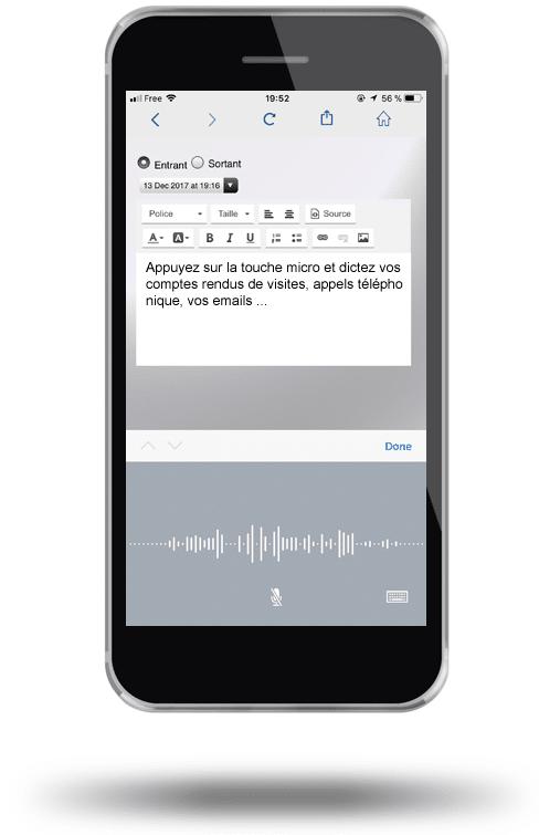 Dictée vocale dans tous les écrans de l'application CRM pour smartphone